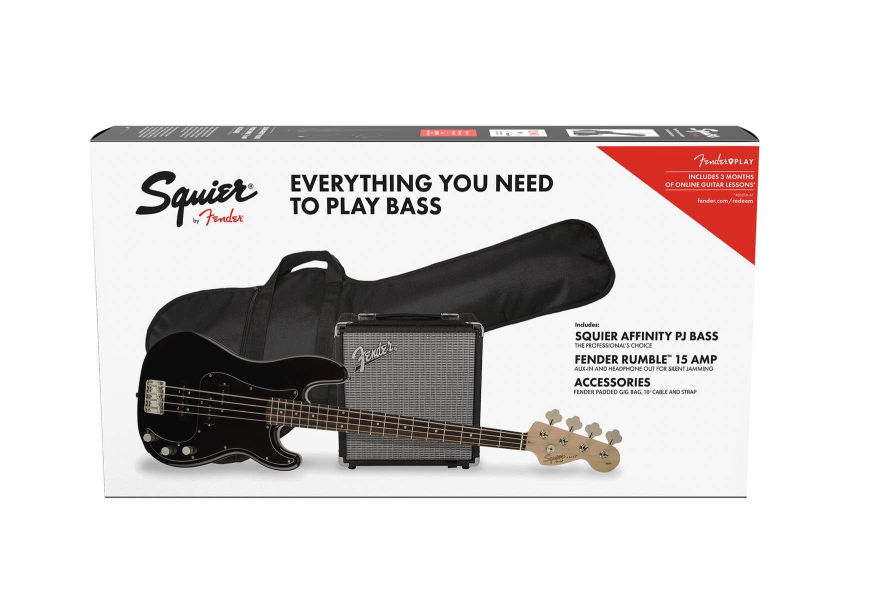 Squier Affinity Series Precision Bass PJ Pack - Black