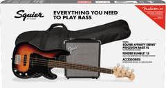 Squier Affinity Series Precision Bass PJ Package - 3-Tone Sunburst MN