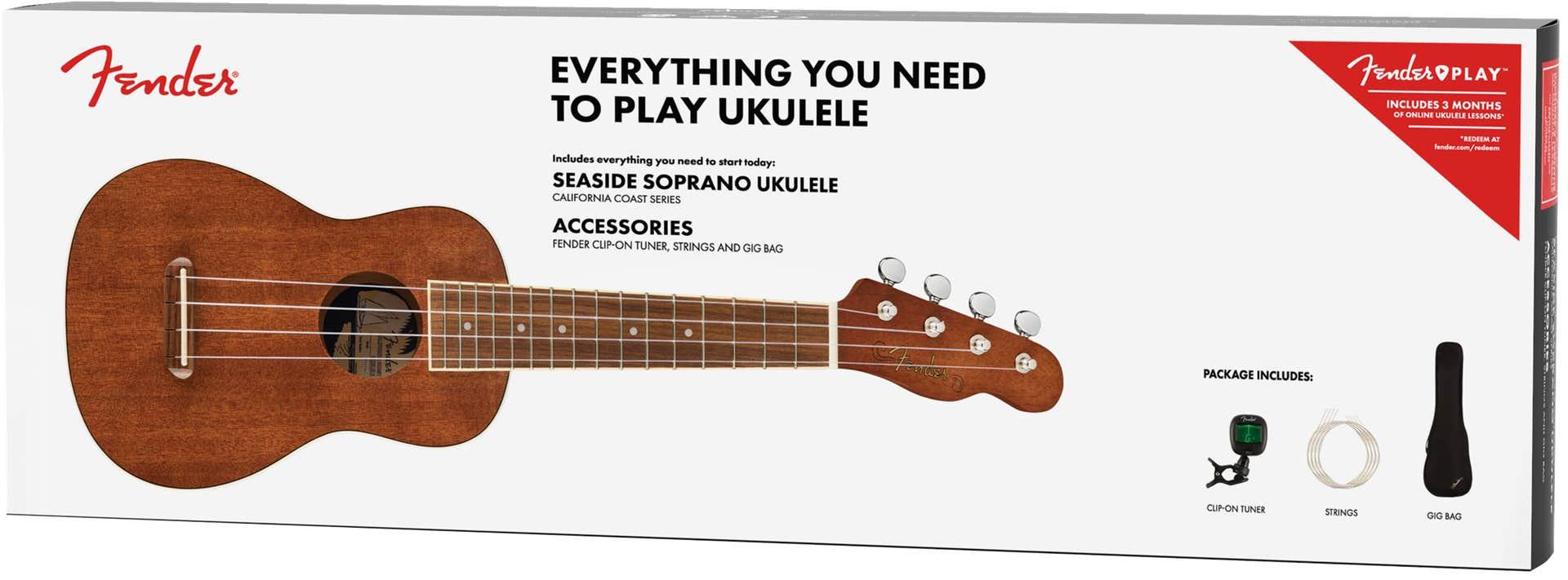 Fender Seaside Soprano Ukulele Pack w/Gigbag + Accessories