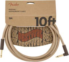 Fender Pure Hemp Angled Festival Instrument Cable - Natural - 3m