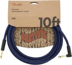 Fender Pure Hemp Angled Festival Instrument Cable - Blue Dream - 3m