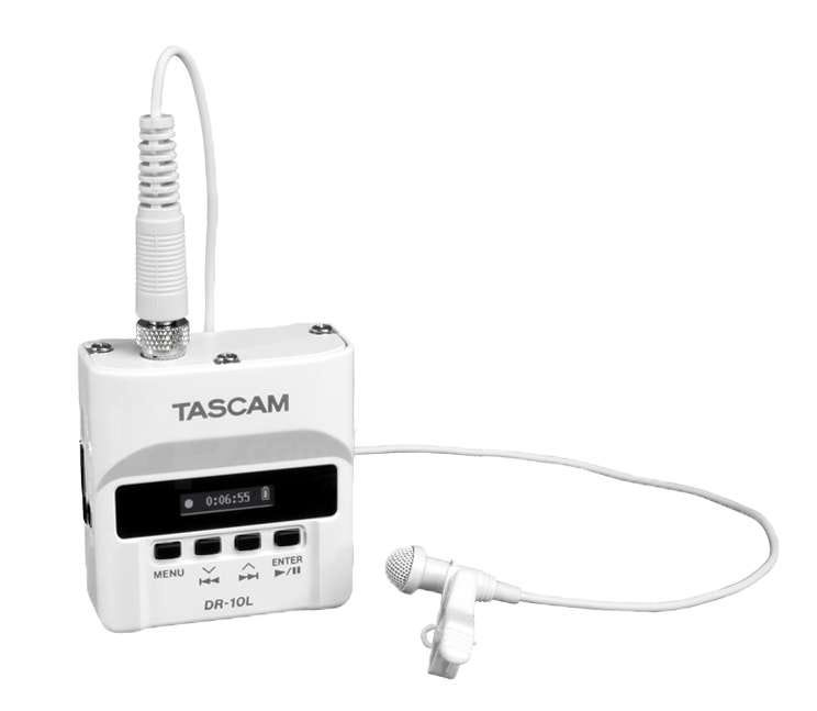 Tascam DR10L Ultra-Compact Portable Recorder w/Lavalier Mic (White)