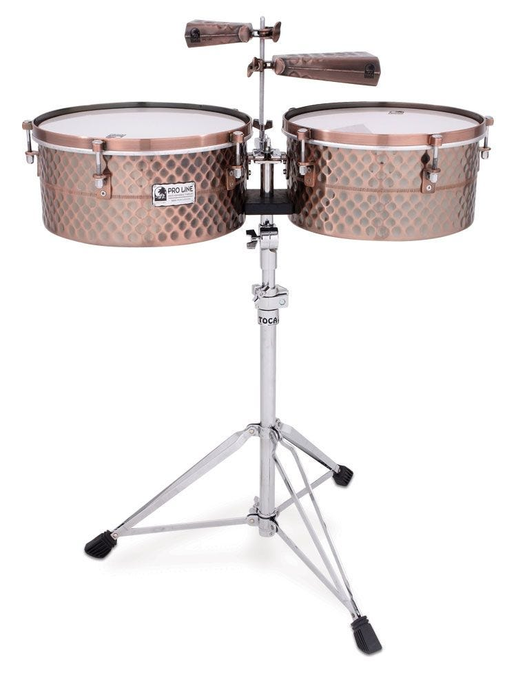 Toca TPT1415 Pro Line Timbales w/Stand - Black Copper