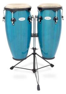 Toca Synergy Wood Conga Set with Stand - Bahama Blue