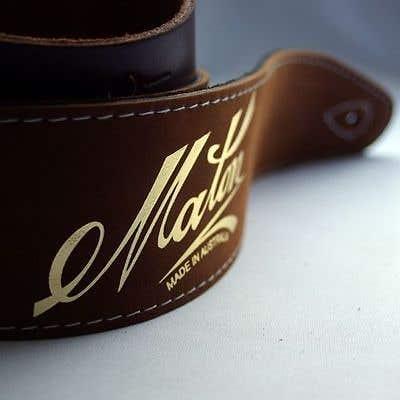 Maton Gold Logo Guitar Strap - Brown Leather
