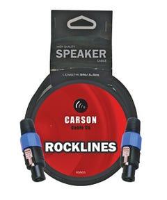 5 foot. Speakon connectors (M). 7mm O/D. 15 gauge, 2 conductor speaker cable. Black.