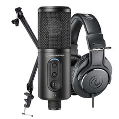 Audio Technica Content Creator Pack w/ATR2500X Mic + M20X Headphones + Studio Boom Arm