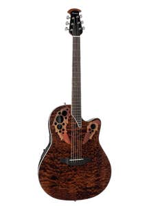 Ovation CE48P-TGE Celebrity Elite EX Acoustic Guitar - Shallow - Dark Tiger Eye On Exotic Quilted Maple