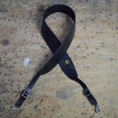 Colonial Leather Plain Banjo Cradle Strap w/Hooks - Black