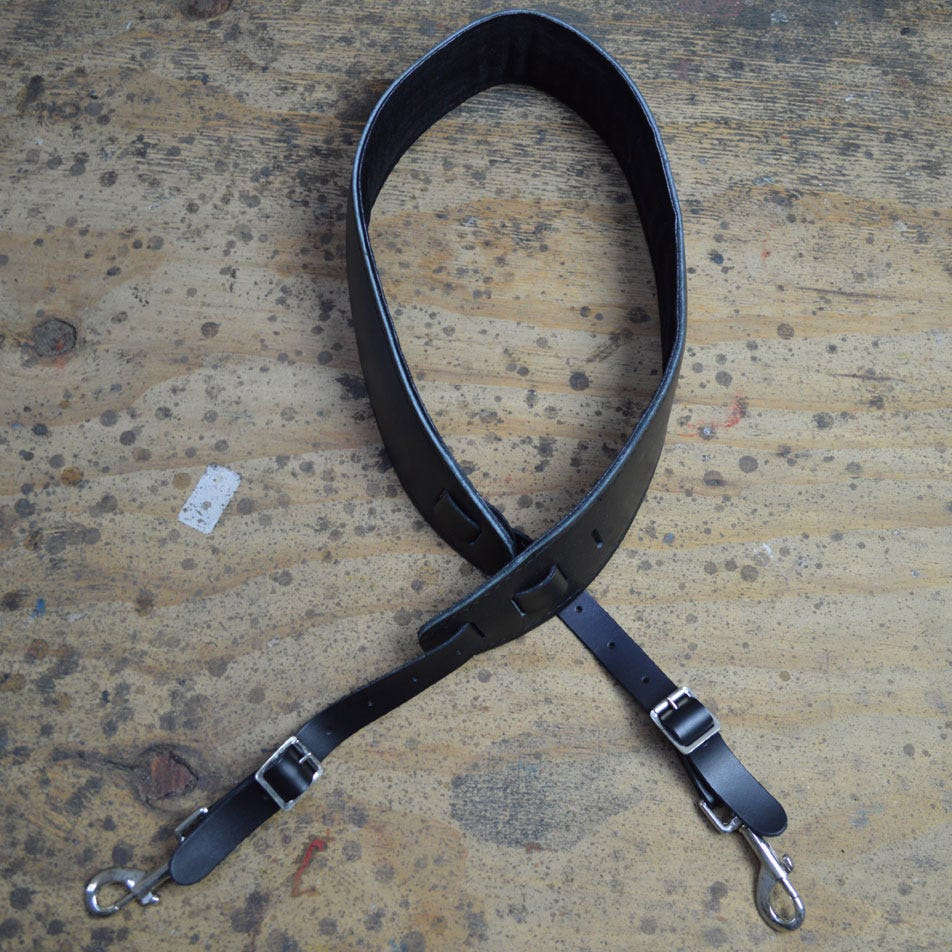 Colonial Leather Padded Cradle Strap w/Hooks - Black
