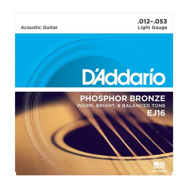 D'Addario Light Acoustic Steel String Set 12-53 (EJ16)