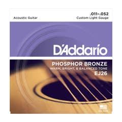 D'Addario Custom Light Acoustic Steel String Set 11-52 (EJ26)