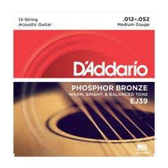 D'Addario Medium Acoustic Steel 12-String Set 12-52 (EJ39)