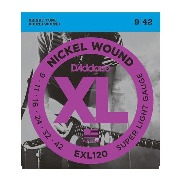 D'Addario Super Light Electric Guitar String Set 9-42 (EXL120)