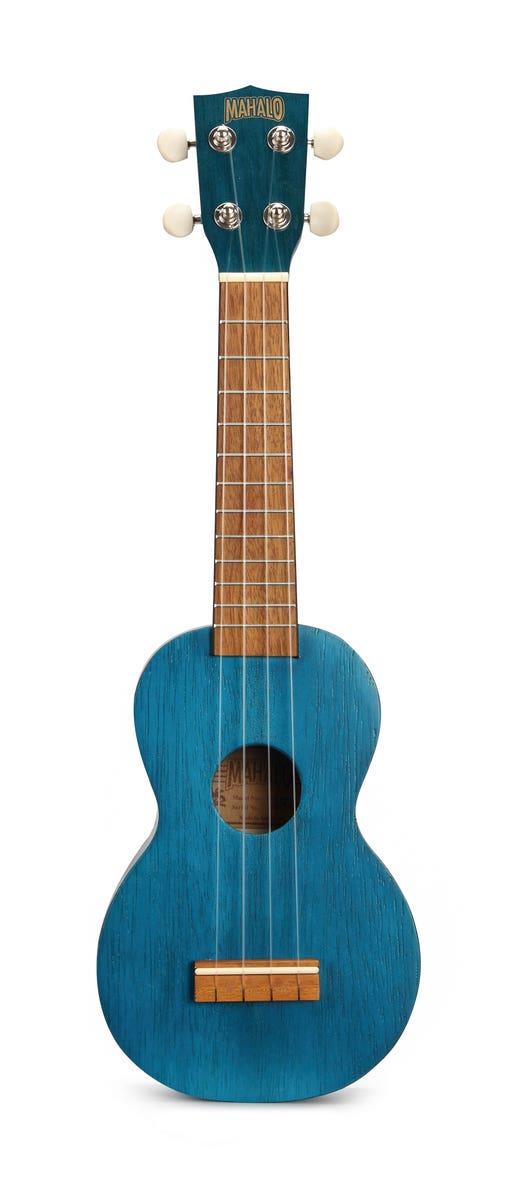 Mahalo Kahiko Series Soprano Ukulele - Trans Blue (MK1TBU)
