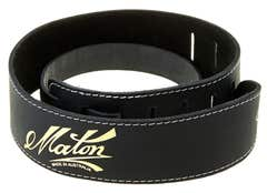 Maton Gold Logo Guitar Strap - Black Leather