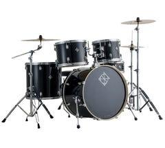 "Dixon Spark 5pc 22"" Drum Kit w/Hardware and Cymbals - Misty Black Sparkle"