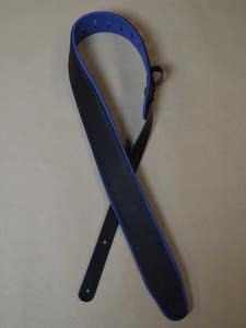"""Colonial Padded 2.5"""" Leather/Upholstery Guitar Strap - Black/Blue"""