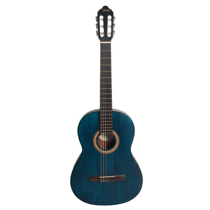 Valencia VC204TBU 4/4 Classical Guitar - Transparent Blue