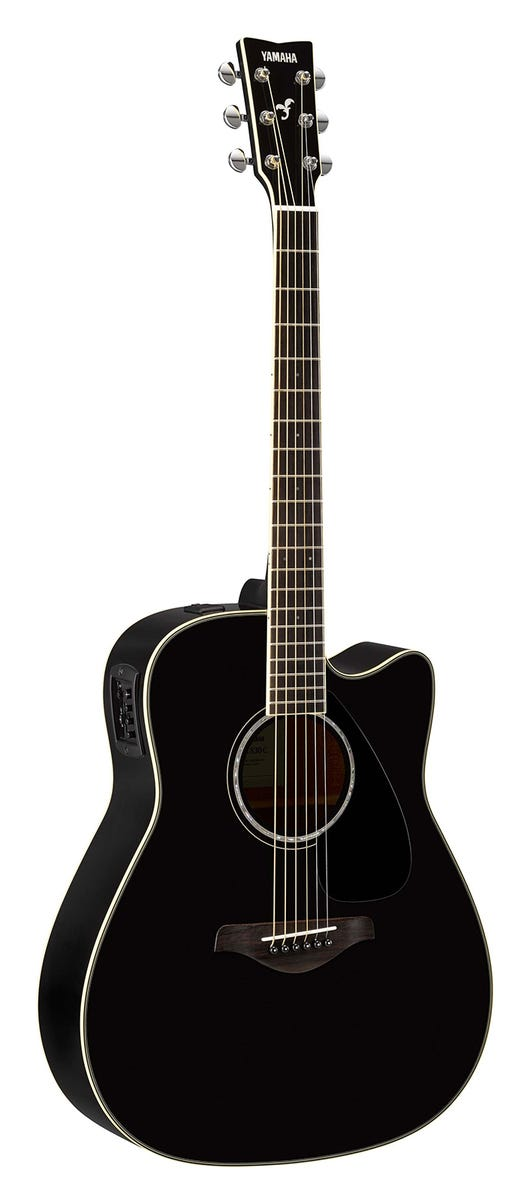Yamaha FGX830CBL Solid Top Acoustic/Electric Guitar - Black